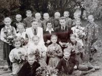 Marija Jakivna Bohuta in the middle, year 1958