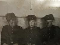 Jefstavij Oleksijovyč Adamčuk in the Soviet Armed Forces (in the middle), 1956
