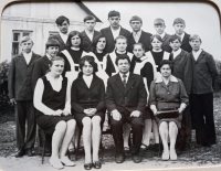 Photo from the boarding school, Marija Jakivna the first sitting from the right, year 1975