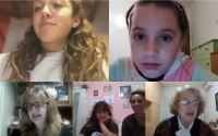 Children during the online recording of the Stories of Our Neighbors project, Florence, 2020