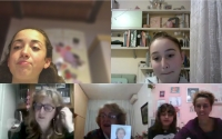 Project Stories of Our Neighbors, children from the Scuola ceca school during the online filming