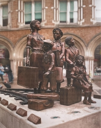 A sculptural group of children depicting Kindertransport, a memorial to Liverpool Street Station in London