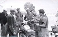 Ján Bajtoš (first from the right side) in his youth with his motorcycle (1956).