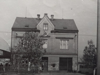 The Hajný family house in Bohatice, circa 1950s