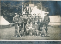 At a scout camp in Hodkov near Zbraslavice in 1924 (the smallest child in the center)