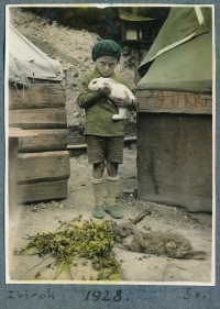 With rabbits at a scout camp in Zbiroh, 1928
