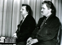 "Mykola Horbal (left) and Levko Lukyanenko and during the presentation of Lukyanenko's book ""I Believe in God and in Ukraine"" (Viruyu v Boha i v Ukrayinu). Kyiv, 1991"