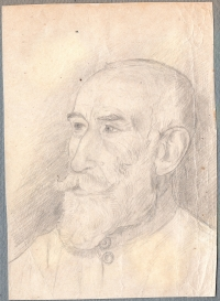 Portrait of Ignatius Tsegelsky, grandfather, made by a prisoner, 1950s.