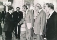 Václav Havel is welcoming Emil Pražan and the other board members of the PTP Union at the Prague Castle. October 1991