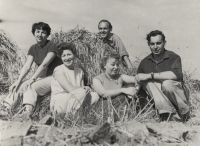 Oldřich Vašák during the harvest with his colleagues from the Masaryk University rector's office