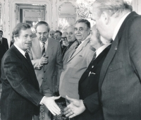 Václav Havel is receiving the members of the board of the PTP Union. Emil Pražan is standing at presidents' left. October 1991