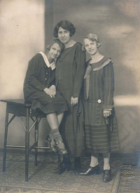 Aunt Jiřina and mother Helena with a governess (1920s)