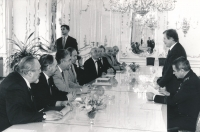 The delegation of the PTP Union is received by the President, Václav Havel. Emil Pražan, sitting, third from left. October 1991