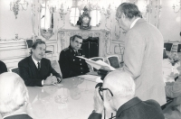 Emil Pražan is reading his speech he had prepared for the encounter with President Václav Havel at the Prague Castle. October 1991