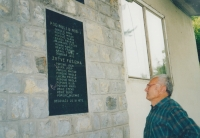 The memorial to the fallen in the village of Begovača, where the names of Vincenc Novák's relatives, his grandfather František Lacina and his father Karel Novák are also inscribed