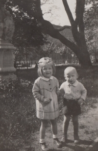 With her younger brother Eduard