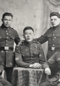 Father Karel Novák (in the middle) had to leave Yugoslavia to join the millitary service in Čáslav