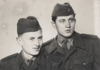 Vincenc Novák with his friend during his military service