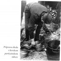 lunch preparation in mountain partisan encampment