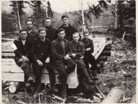 Maksymovych (in the middle) with his comrades, vicinity of Khabarovsk, 1951