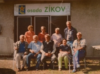 Josef Zíka (sitting in the middle) with gardeners in the settlement Zíkov