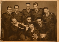 Josef Zíka (sitting in the middle) together with other members of the Auxiliary Technical Battalions