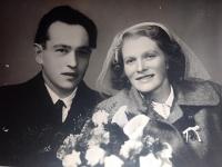 Helena Tikalská and Karel Divoký, a wedding photo from 1954