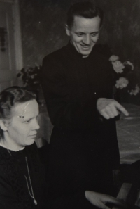 Karel Exner as a theologian with his sister, early 40s