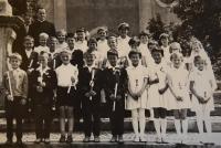 Karel Exner with his students of religion, Světlá nad Sázavou, 1970s