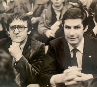 With handball legend Jan Kecskeméthy in the 1980s; Kecskeméthy was the coach of the Dutch national team, Igor Bielik of the Israeli team