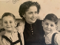 With mom and brother Peter