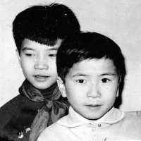 With his brother, Tuan Nguyen is on the left, Warsaw, ca. 1965