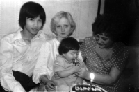 With his wife Marie, daughter Diana and his mother-in-law in 1979