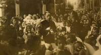 Prime divine service (the first mass of a new priest) June 4, 1944, Karel Exner inside of the church in Studenec