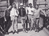 With a West German big beat group (after a concert in Cheb), circa 1967-1968, from the left Luděk Šnepp, Václav Hora