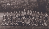 Second Boy Scout unit Cheb, Scout leader Akela (Rudolf Zedlo), Václav Hora fourth from the left (standing)