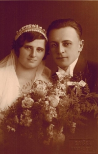 Wedding photo of Josef´s parents: Anna and Josef Horký in January 1933