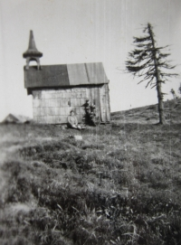 Wooden chapel on the Šerák Mt. which is no longer standing