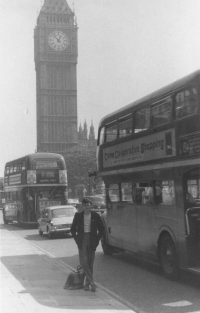 From his two-month stay in England. Lodon, Big Ben, 1966