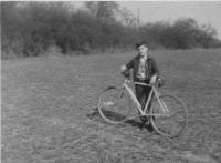 Miloš on a bike, outside of Prague 1959