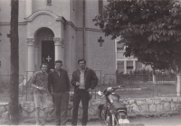 Miloš in Romania (on his second trip abroad) with a friend (on the right) on a motorcycle, 1966
