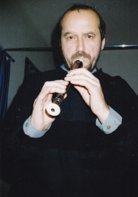 Miloš as an amateur flautist, Prague 1987