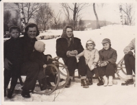 Sledding in winter 1951 (Miloš's mother is centered, next to her on the right is Miloš and his brother)