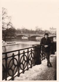 Miloš on the riverbank, Prague 1972