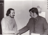 Miloš with the chairperson of the Czechoslovak Socialist Union of Youth (SSM) of Prague 8 after the signing of an agreement of collaboration between SSM Prague 8 and the House of Culture of Prague 8, 1975
