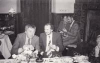 Miloš with the jazz guitarist J. Tomek at the Karel Růžička's wedding (in the back with his wife), 1982