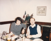Miloš with the well-known glassmaker Marian Karel, Prague 1987