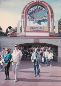 Miloš in front of Disneyland in California, 1989