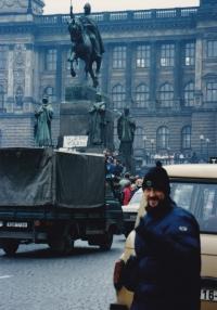 Miloš on Wenceslas Square, November 1989