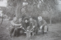 Rostislav Zapletal with his friends from the hunters' club
